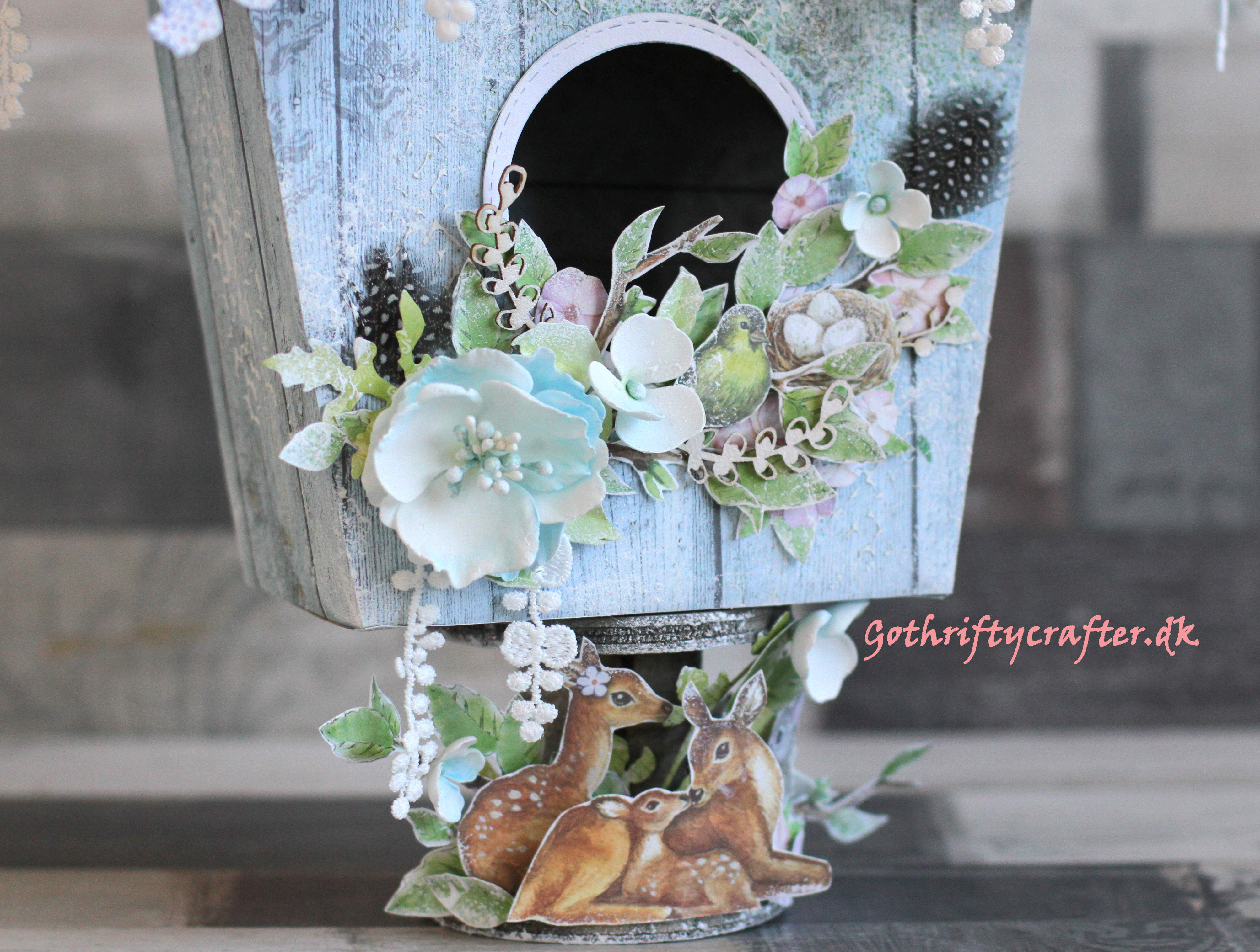 Mixed media bird house for Easter decoration