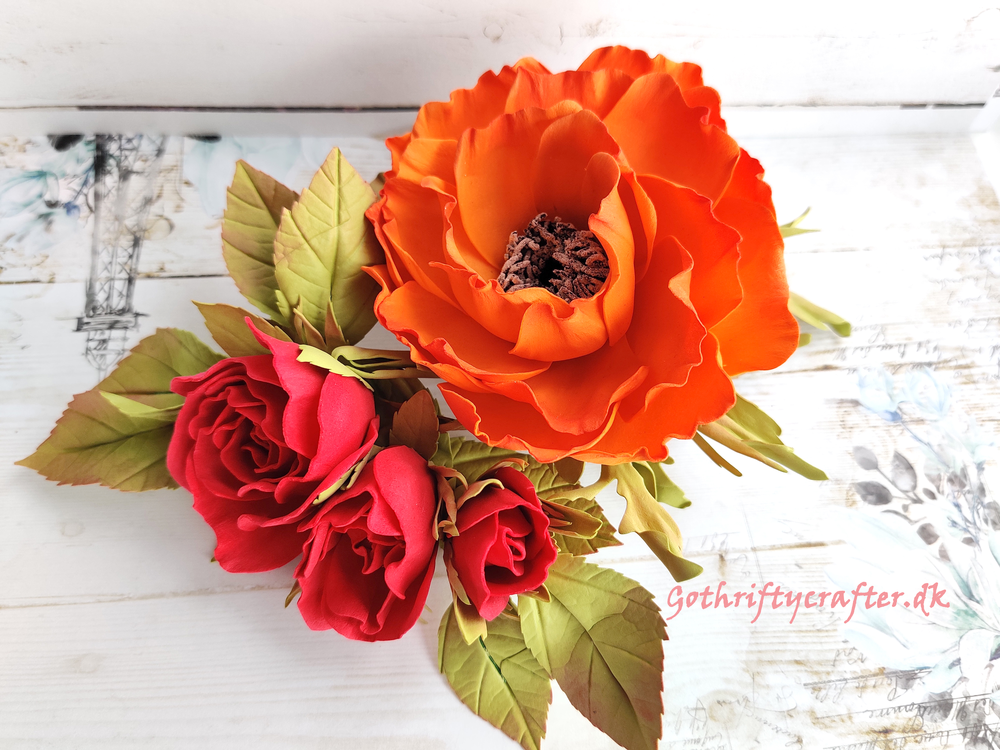 DIY foamiran flowers poppy orange handmade LadyE die rose hairclip hair embellishmentjpg