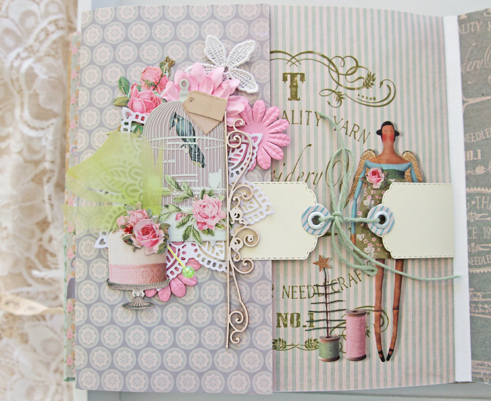 Gothriftycrafter Tilda album scrapbook page 3 close upjpg