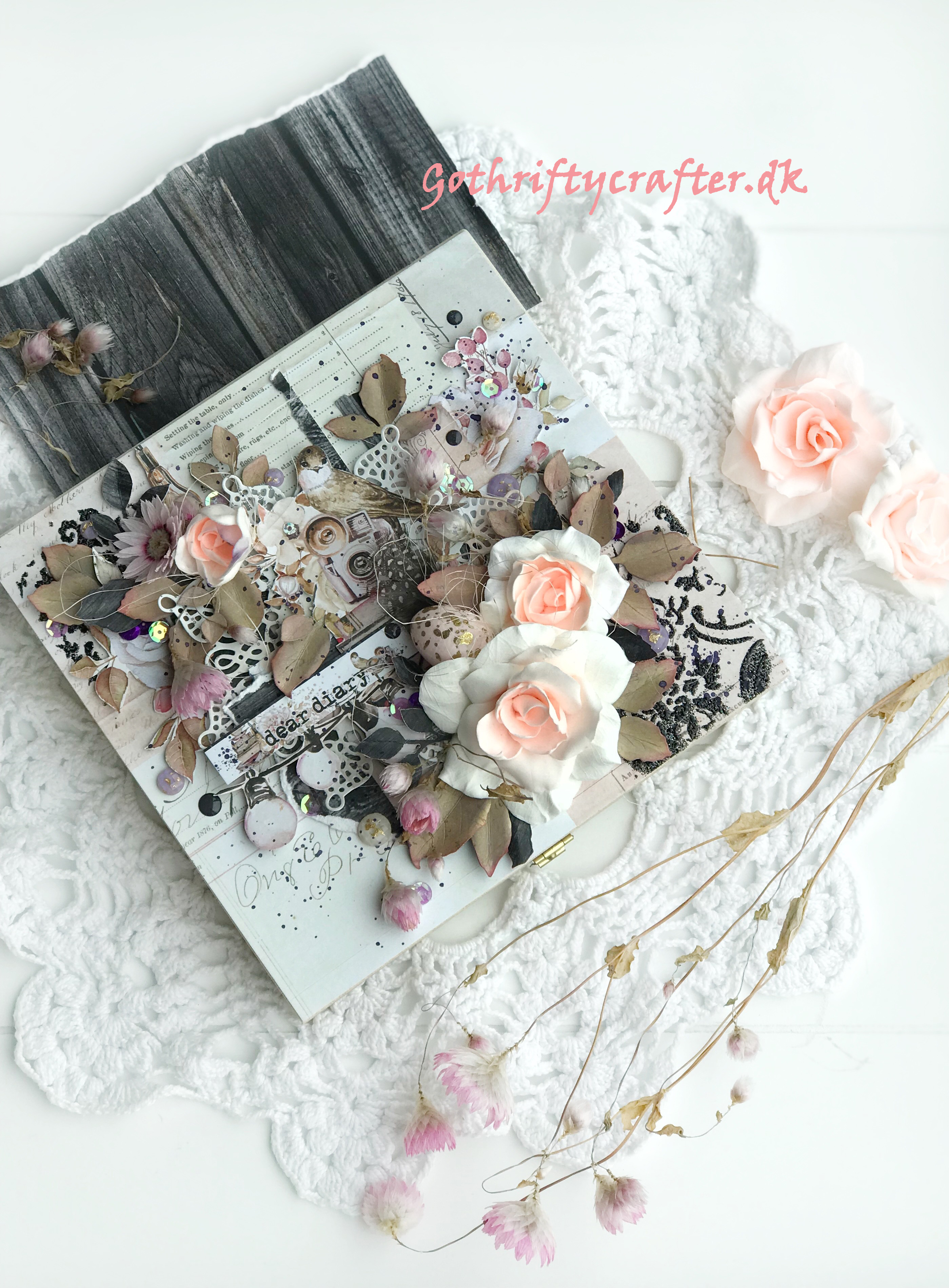 Scrapbooking Mintay dear diary paper Gothriftycrafter makeover wood box rose flower bird fussy cut featherjpg
