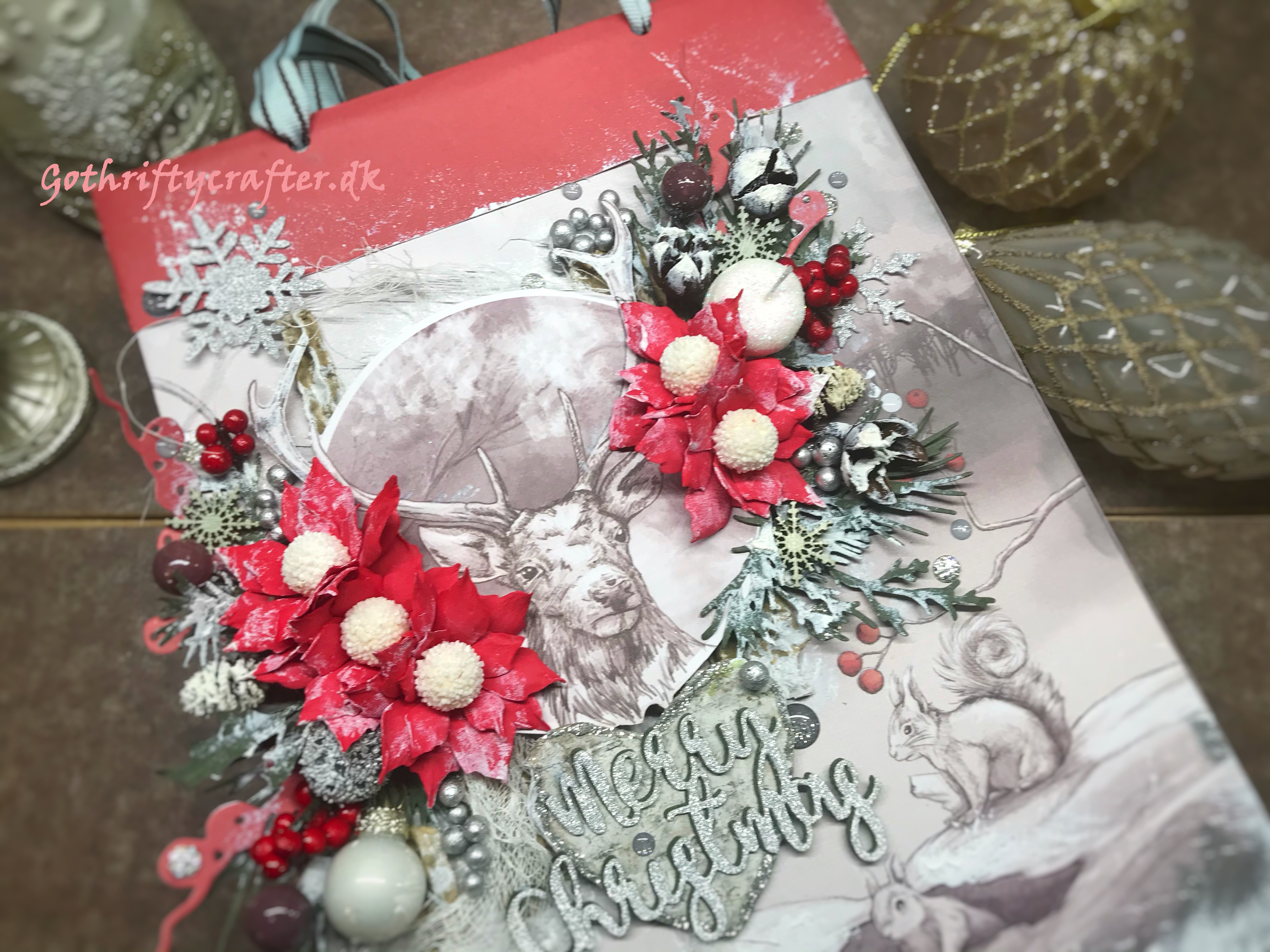 GoThriftycrafter Fabrika Decoru mixed media xmas winter snow gift bagjpg