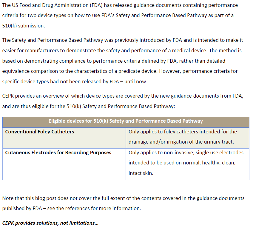 Blog FDA Safety and Performance Pathway 510k 28-01-2021PNG
