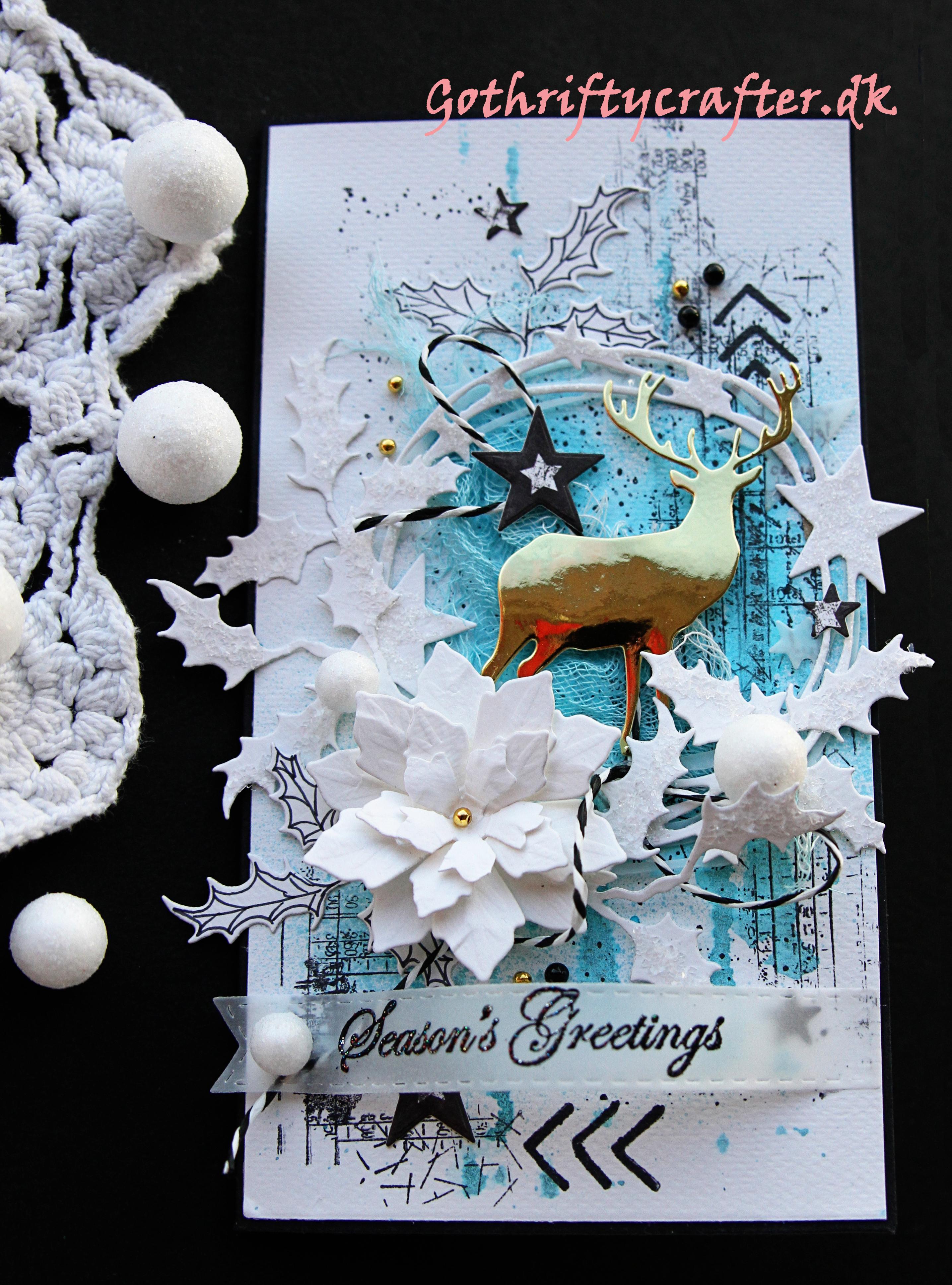 GoThriftyCrafter blue christmas scrapbook card deerjpg