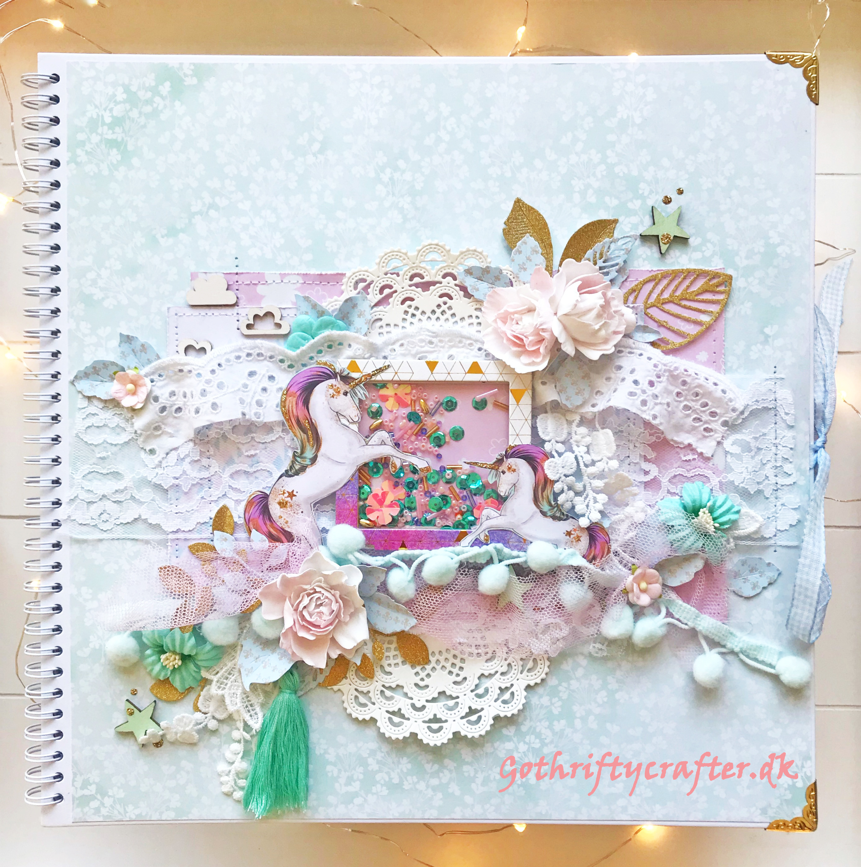 Scrapbook Gothriftycrafter Mintay album cover layout unicorn shakerjpg