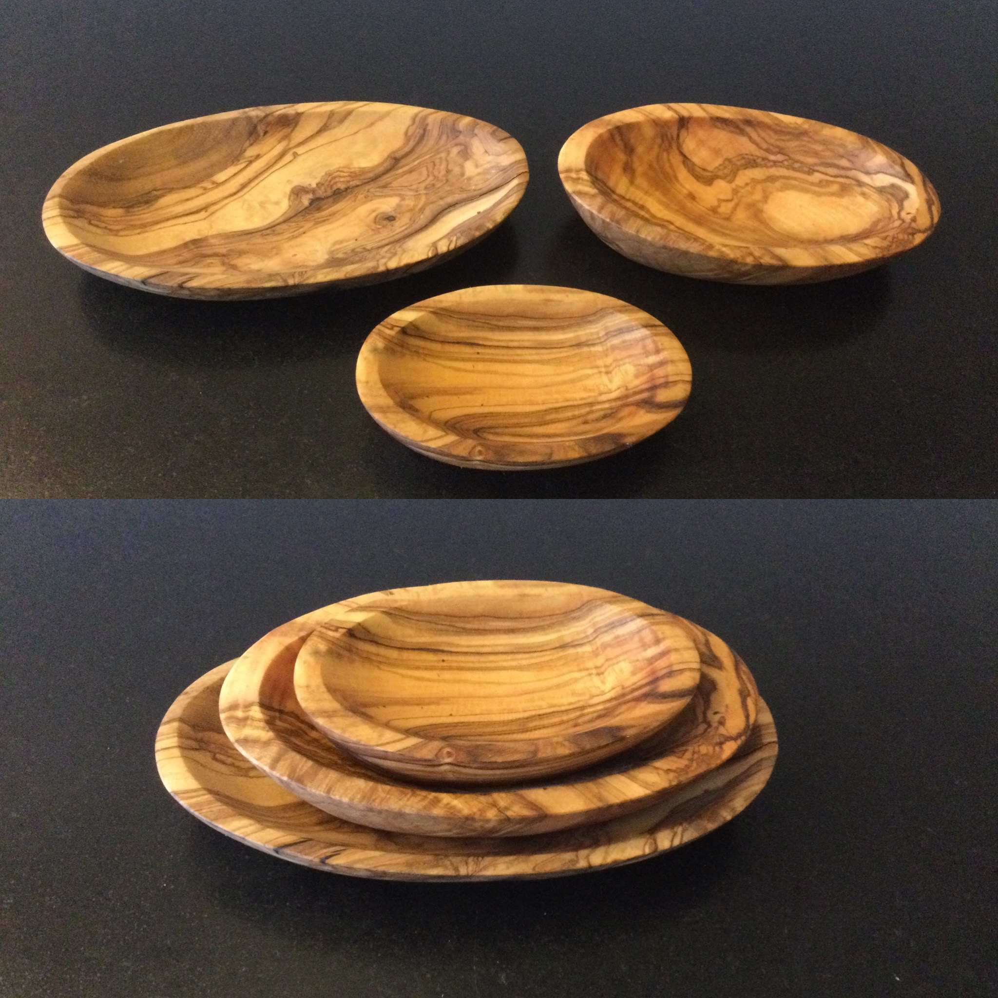 Olive Wood: Stackable appetizer dishes (Set of 3)