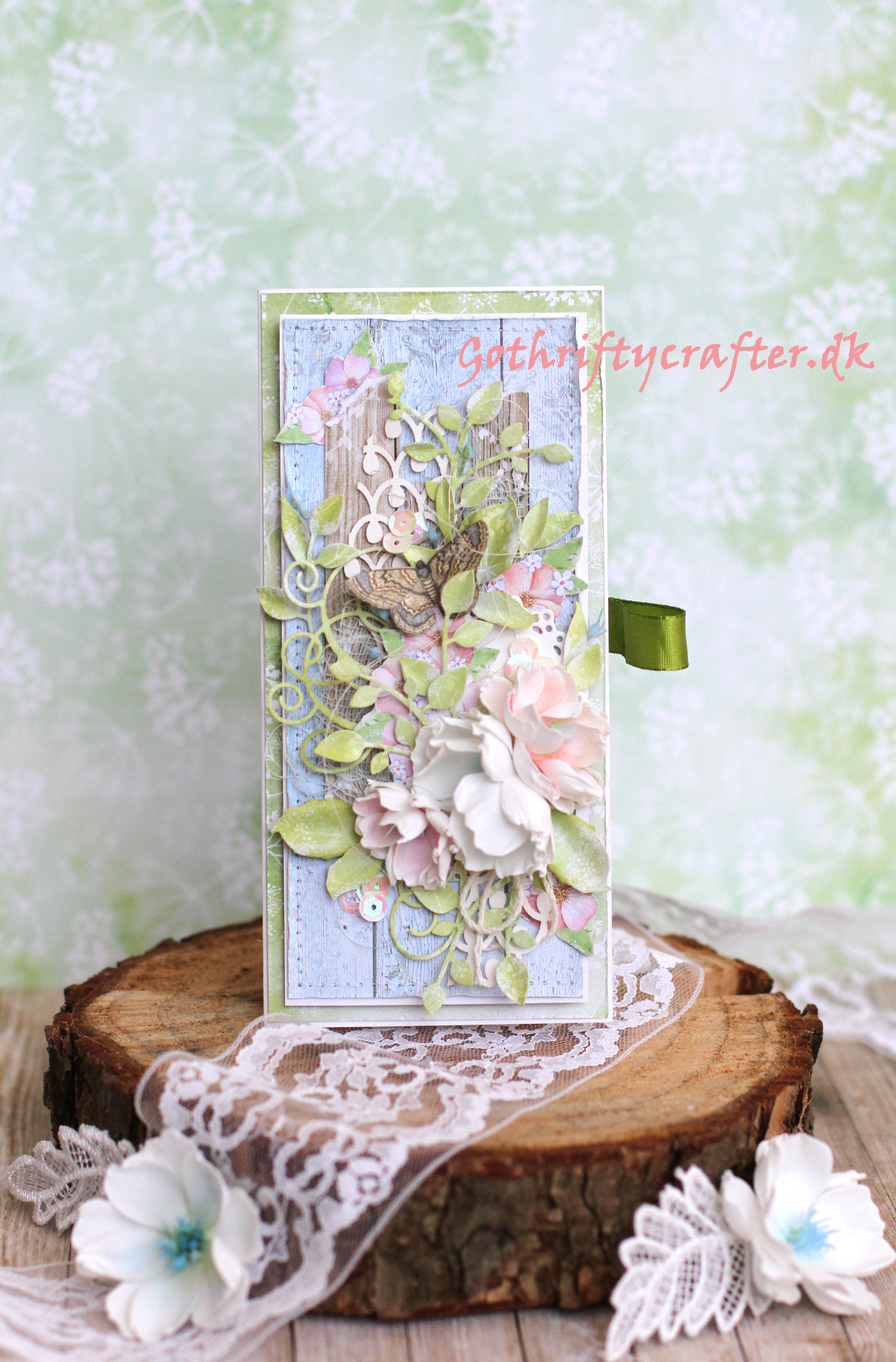 Gothriftycrafter scrapbooking card DIY reuse box flower foamiran Fabrika Decoru LadyE butterflyjpg