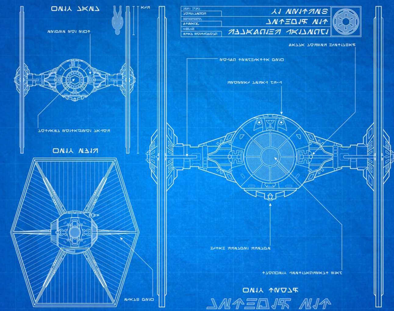 tie fighter blue printjpg