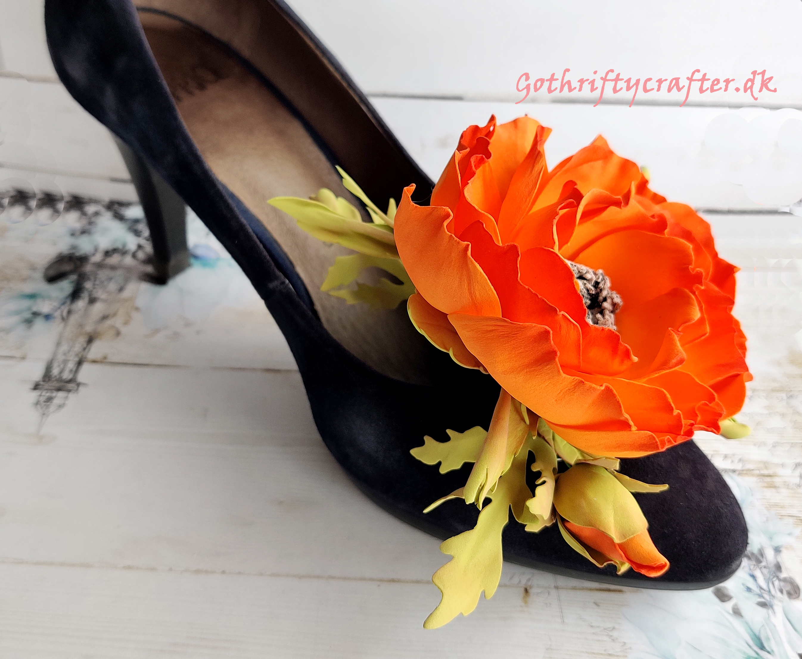 DIY foamiran flower poppy orange handmade LadyE die rose hairclip hair clip embellishment shoejpg