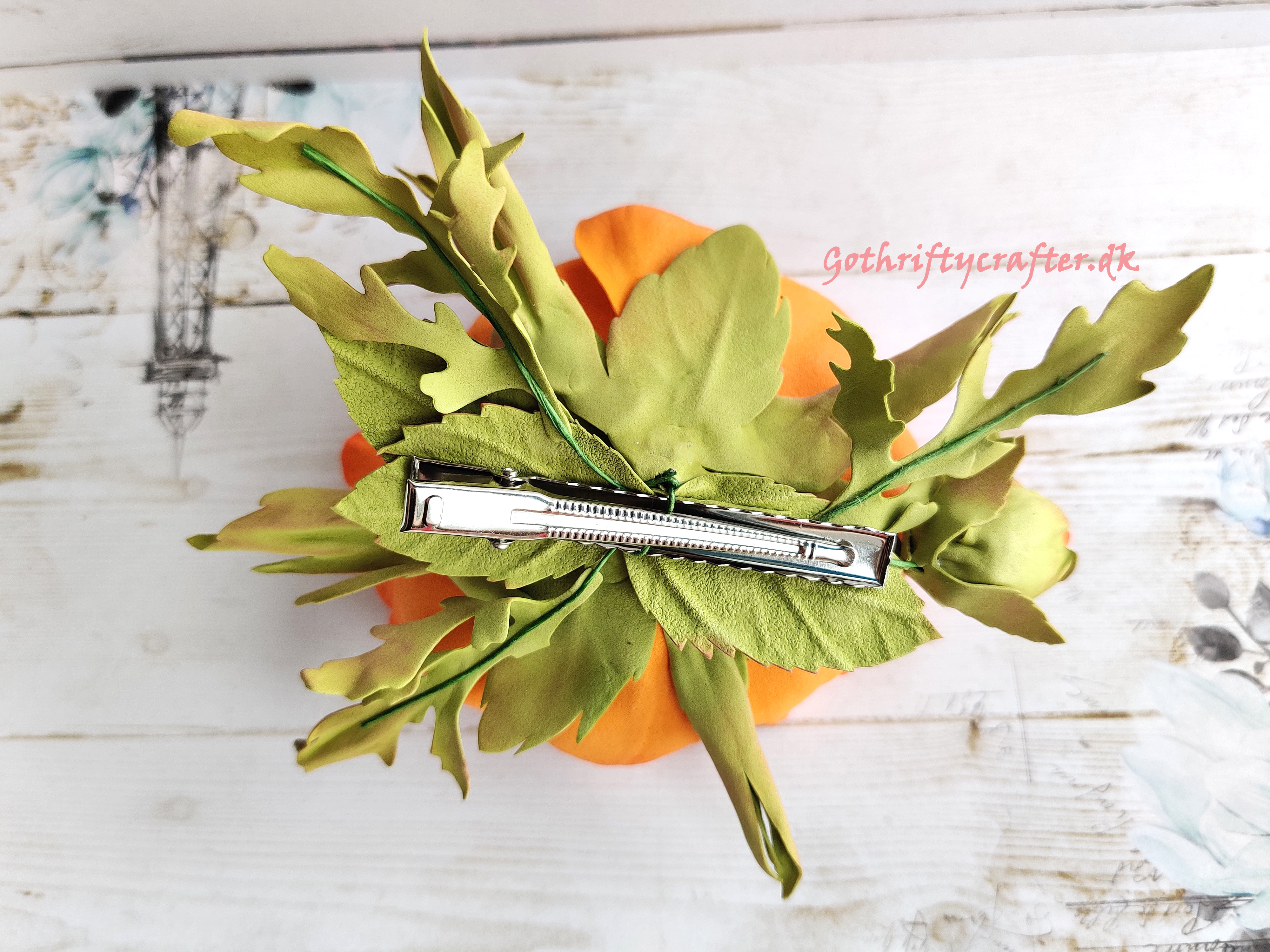 DIY foamiran flower poppy orange handmade LadyE die rose hairclipjpg