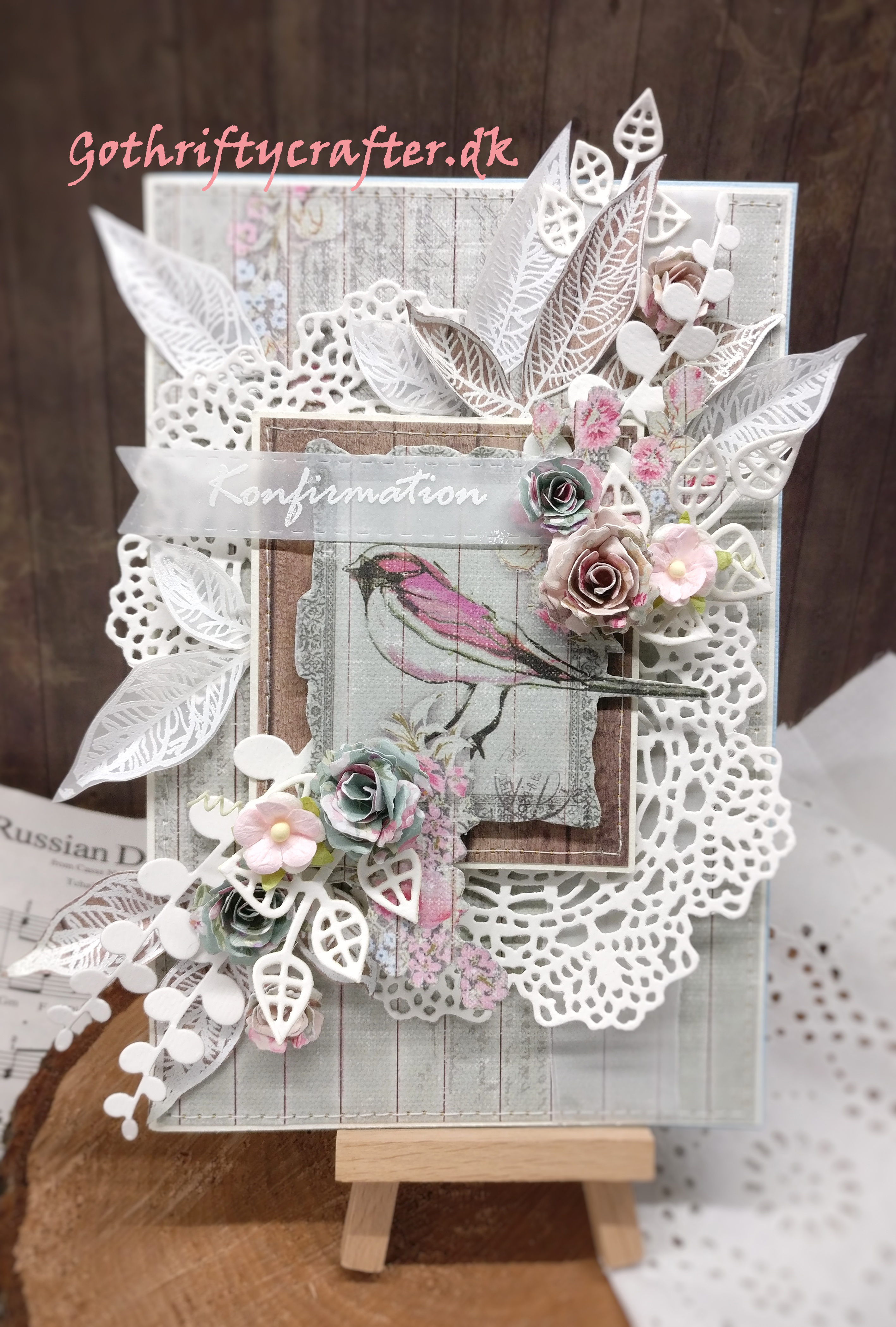 Gothriftycrafter confirmation congratulation card with embossed leaves doily roses bird whitejpg