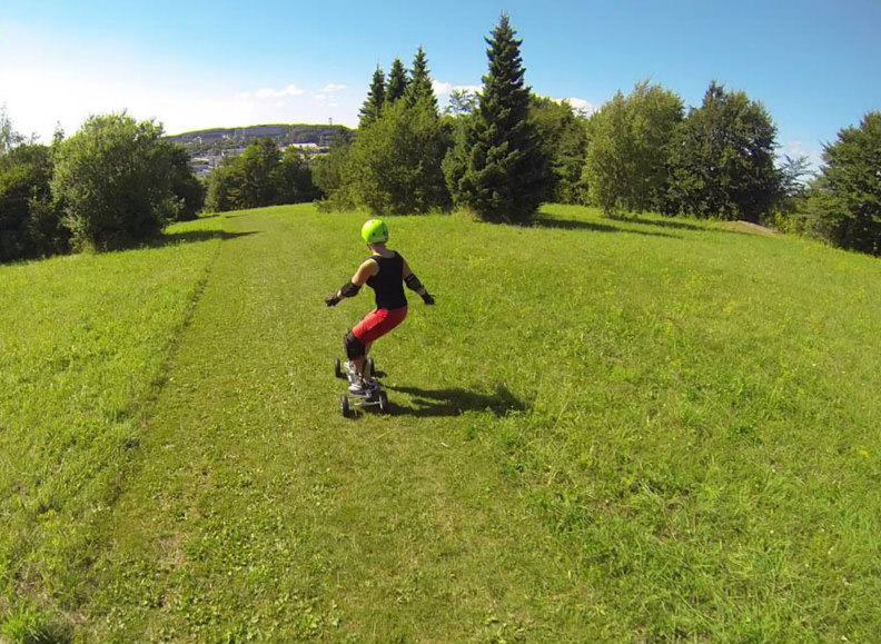 Down hill landboarding is a great why to learn board skills and a lot of fun on a no wind day